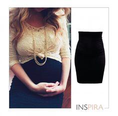 Roupas pra usar antes, durante e depois da gravidez! A saia lápis preta é versátil e estilosa.