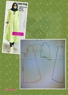 nice long dress or abaya Dress Sewing Patterns, Sewing Patterns Free, Sewing Tutorials, Clothing Patterns, Sewing Clothes, Diy Clothes, Estilo Abaya, Abaya Pattern, New Mode