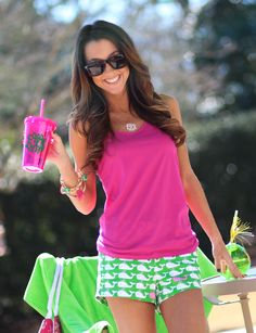 Keep your drink cool and stylish with one of our Monogrammed 16oz Double Wall Acrylic Cups! Marleylilly.com ** Shorts from mondaydress.com ** #Ineed #summerparty #poolparty #monogram
