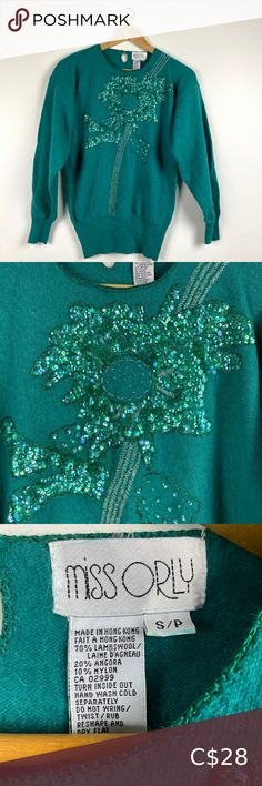 Vintage Embellished Sequinned Sweater Wool angora nylon blend. Gorgeous chest embellishment. Vintage sizing is sometimes very different than modern. Not sure if it will fit? Measure a similar item in your own closet to compare before purchasing. Measured laying flat. Vintage items usually have flaws & I do my best to disclose. Pit to pit 18 Shoulder to hem 25 Sleeves 22 drop shoulder Vintage Sweaters Angora Sweater, Fleece Sweater, Merino Wool Sweater, Ribbed Sweater, Vintage Knitting, Vintage Cotton, Skirt Suit Set, Vintage Sweaters, Vintage Ladies