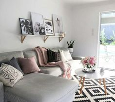 Pink And Grey Living Room, Black And White Rug, Gold Table Legs