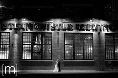 potential reception loc'n: Steamwhistle Brewery - would suit the couple! Night Shot, Brewery, Beverage, Real Weddings, Reception, Suit, Earth, Wedding Ideas, Couple