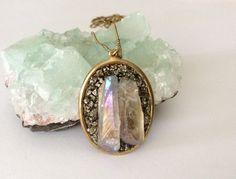 Raw Crystal Necklace // Mystic Opal Crystal Quartz // Boho Modern // Fall by NaturalGlam on Etsy