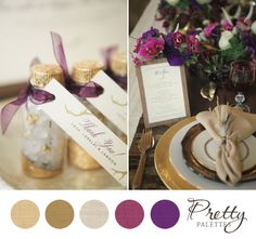 Eggplant and champagne wedding colors - unique wedding ideas Winter Wedding Colors, Fall Wedding, Dream Wedding, Wedding Colours, Winter Colors, Winter Theme, Wedding Flowers, Purple And Gold Wedding, Burgundy Wedding
