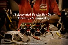 New Series: 11 Essential Books For Your Motorcycle Workshop Motorcycle Wiring, Motorcycle Workshop, Motorcycle Mechanic, Motorcycle Garage, Motorcycle Tips, Garage Bike, Mechanic Shop, Motorcycle Travel, Motorcycle Engine
