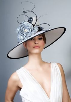 Rachel Trevor Morgan SS 2014 | R1077 - Fine straw picture hat with stripe flower and quills