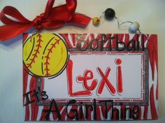 Hand personalized girls softball name room sign in bright colors. $12.95, via Etsy.