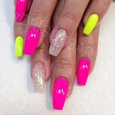 Neon pink and yellow nails. Love!