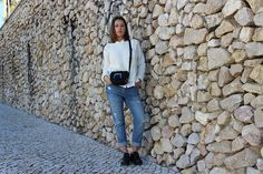 White Knit, Knit, Stole, Black Stole, Outfit, Look, Street Style, Fashion, Fashion Blog
