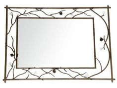 Pine Branches Fireplace Mantel Mirror. Crafted by American metal artisans at Stone County Ironworks