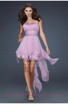 Hi Low Chiffon La Femme 15087 Lavender Homecoming Dress Short Strapless Prom Dresses, High Low Prom Dresses, Chiffon Evening Dresses, Prom Dresses Online, Cheap Prom Dresses, Prom Party Dresses, Homecoming Dresses, Evening Gowns, Bridesmaid Dresses
