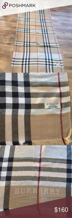 Extra long Burberry ready to go NWT Extra long Burberry ready to go, NWT beautiful camel goldfish color Burberry Accessories Scarves & Wraps