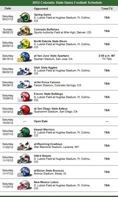 Colorado State Rams 2012 Football Team schedule