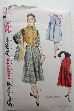 Vintage Simplicity 3712 1950s Pattern for Women's Skirt, Vest, Shawl, Stole sz 18 B 36 by JoysinStitches on Etsy
