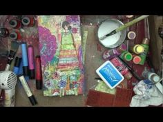 Video She Art by Christy Tomlinson using Unity Stamps, tissue paper, Pink Paislee, Deco Art paint and Faber Castell pens..