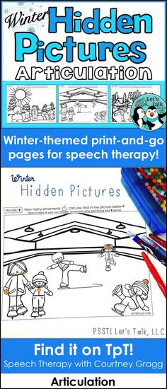 Winter articulation activity: find hidden articulation pictures in the winter scenes.