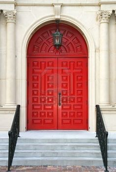 Ornate Double red church doors