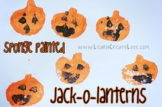 Sponge Painted Jack-o-Lanterns