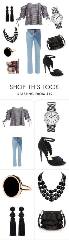 """Gingham"" by simply-annie-designs on Polyvore featuring Caroline Constas, Timex, Vetements, Kayleen, Ginette NY, Oscar de la Renta and Henri Bendel"