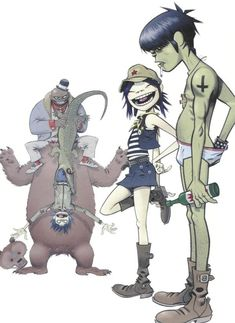 Here is a place where I will post all of the official Gorillaz art. I claim none of this art and it is all created by Jamie Hewlett. I will NOT be posting any fan art (including edits). Gorillaz Noodle, Gorillaz Fan Art, Damon Albarn, Tank Girl, Character Design References, Character Art, Jamie Hewlett Art, Monkeys Band, Art Tumblr