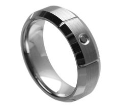 0.07ct Jet Black CZ Centered Stone 7mm Ring Band His Hers Wedding Engagement Anniversary Unisex Tungsten Carbide Band Comfort Fit