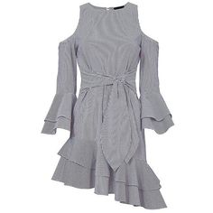 Intermix Women's Ellie Cold Shoulder Asymmetric Dress (€245) ❤ liked on Polyvore featuring dresses, blue striped dress, asymmetrical hem dresses, blue ruffle dress, tiered ruffle dress and ruffle sleeve dress