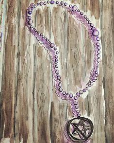 Pentagram Necklace Watercolour and Pen Painting by NyxStudioArt Pentagram Necklace, 2d Art, Nyx, Watercolour, Silver Plate, Washer Necklace, Plating, Earrings, Artwork
