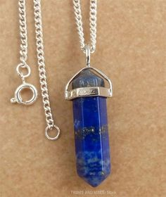 LAPIS LAZULI crystal point CHOOSE NECKLACE Pendant 37mm-40mm ...
