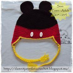 damn it Janet, let's crochet!: Mickey Mouse Earflap Beanie