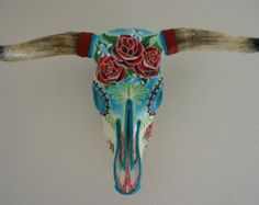 Items similar to Hand-painted steer skulls. Beautiful, bespoke, uniquely decorated and ready to hang inside or out. A stunning Conversation piece! Deer Skull Art, Cow Skull Decor, Deer Skulls, Deer Horns, Longhorn Skulls, Painted Animal Skulls, Antler Art, Antler Jewelry, Buffalo Skull
