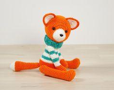 Fox in a sweater - 5-way jointed crocheted amigurumi fox