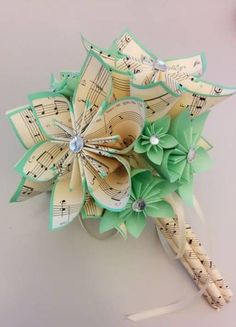 New Flowers Paper Origami Wedding Bouquets Ideas Book Flowers, Paper Flowers Diy, Handmade Flowers, Flower Crafts, Sheet Music Flowers, Wedding Mint, Diy Wedding Bouquet, Diy Bouquet, Wedding Flowers