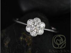Rosados Box Daisy 14kt White Gold WITH Milgrain Diamond Flower Cluster Ring
