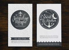 Gray White Edge Painted Letterpress Business Cards Crescent & Anchor Letterpress Business Cards