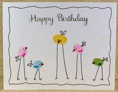 handmade card ... one layer ... from blue sky: Adapt a Fingerprint ... adorable stilt-legged birds from fingerprints ... cute!
