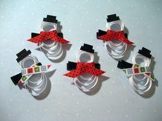 snowman hair clips