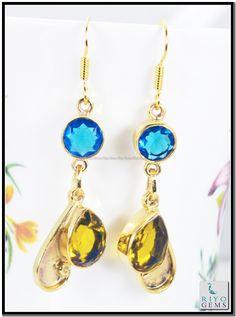 Crystal Amethyst Cz Gems 18k Yellow Gold Plated Earring L 1.5in Gpemul-5209 http://www.riyogems.com