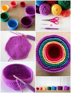 crochet nesting rainbow basket set