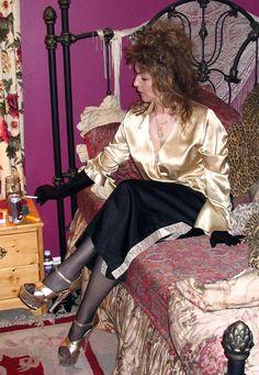 Satin Skirt, Satin Dresses, Blue Dresses, Sexy Blouse, Blouse And Skirt, Transgender Girls, Satin Blouses, Sexy Older Women, Silk Satin