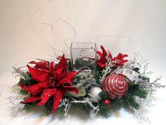 CHRISTMAS DÉCOR CENTERPIECE, Christmas Table Décor, Christmas Silk Flower Arrangement, Silver and Red Centerpiece, Candle Centerpiece