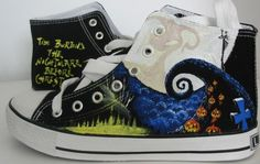 custom converse Nightmare before Christmas shoes Hand-painted on converse sneaker. Cool Converse, Painted Converse, Custom Converse, Converse Sneakers, Converse All Star, Custom Shoes, Walk In My Shoes, Me Too Shoes, Baskets