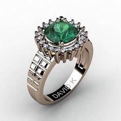 Modern Vintage 14K Rose Gold 2.0 Carat Round Emerald Diamond