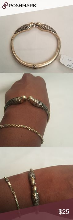 """Lucky Brand Kissing Bird Bracelet/Cuff Would estimate fitting up to 7.5"""" wrist, hinged   Matching earrings/ Necklace available in my closet Lucky Brand Jewelry Bracelets"""