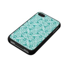 """""""Ornate damask decorative teal aqua iPhone 4 case: Elegant custom iPhone 4 case featuring an ornate, decorative damask pattern with teal or aqua floral swirls on a paler, more desaturated same color background. Chic and stylish design for girls and women. Available in different colors. For custom requests please use the store contact link above."""""""