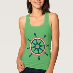 Blue And Coral Nautical Boat Wheel T Shirt Tank Tops