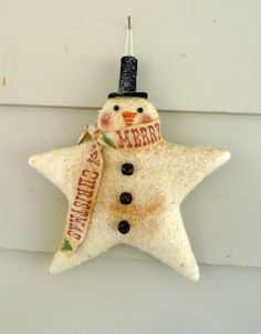 Primitive Snowman ornie tuck bowl filler star от ahlcoopedup