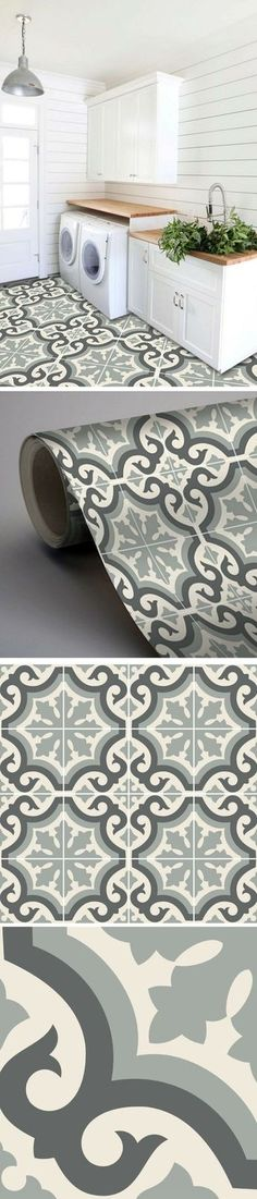 Adhesive tile imitation cement tiles to revamp the laundry room Interior Design Living Room, Living Room Decor, Bedroom Decor, Home Staging, Küchen Design, House Design, Laundry Room Inspiration, Sweet Home, Decoration