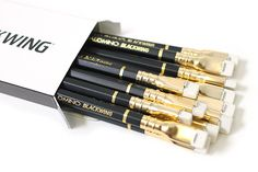 palomino blackwing wooden pencil- pack of 12: $20    these have a rectangular white eraser that pops out from the pencil body and has refills available to purchase (2.50/12)