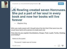 """Then there is this earth-shattering theory of the books. 21 Times """"Harry Potter"""" Was The Cleverest Book Series Ever Harry Potter Stories, Harry Potter Jokes, Harry Potter Fandom, Harry Potter Tumblr Funny, Harry Potter Jk Rowling, Harry Potter Universe, Harry Potter World, Johnlock, Destiel"""