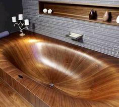 Cool wooden bathtub via I love creative designs and unusual ideas on Facebook